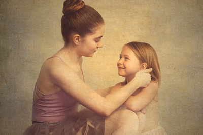 Art Portrait of two ballerina sisters