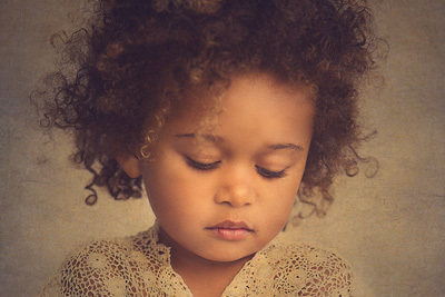 Art portrait of a young African American girl